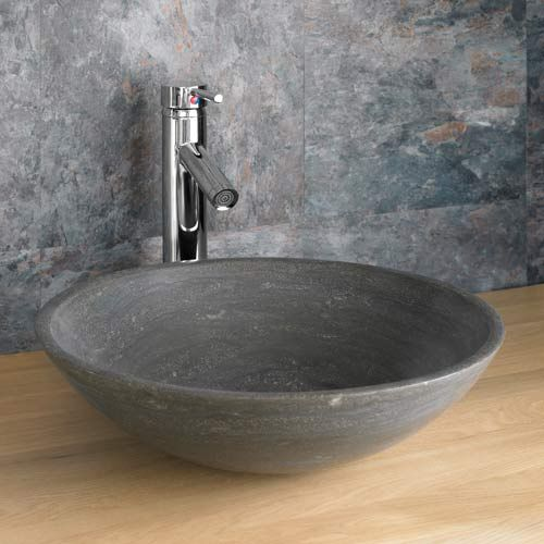 round countertop bathroom basin in black limestone 400mm diameter sink portici