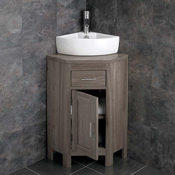 Small Corner Grey Wash Storage Cloakroom Oak Cabinet Corner Basin Set Altas