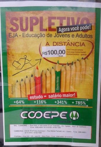 Cartaz de divulgação do supletivo.
