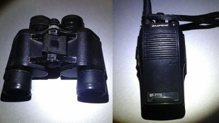 binoculo e radiocomunicador