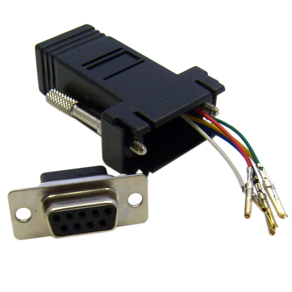medium resolution of modular adapter black db9 female to rj12 jack