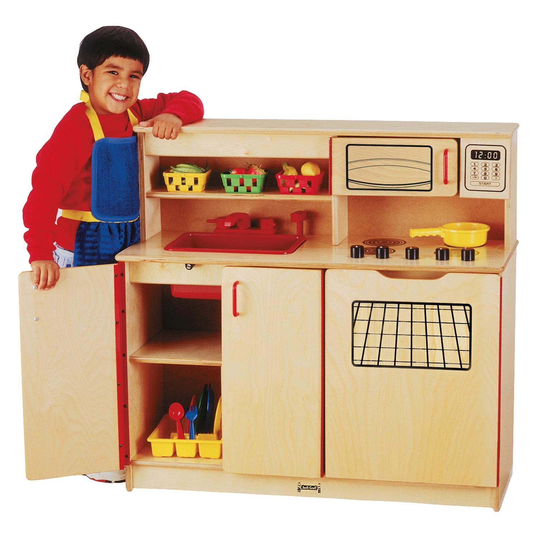 Preschool Kids Pretend Play Room Wood 4In1 Toy Cooking