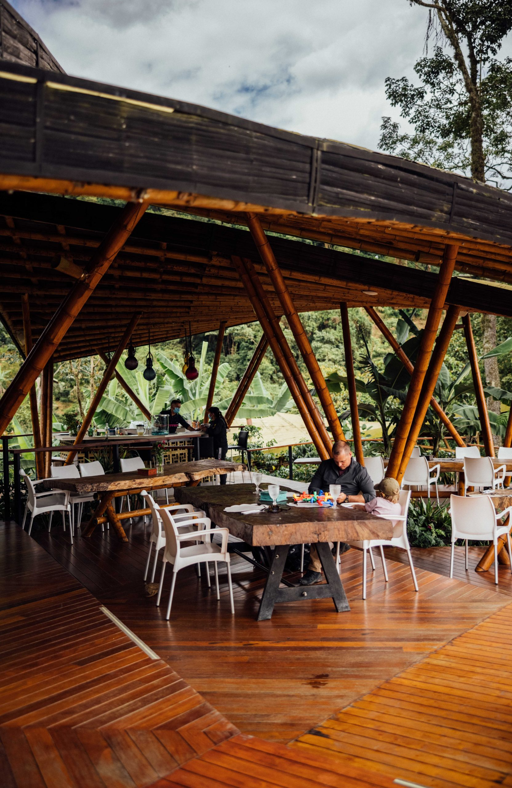 Dining tables at coffee farm