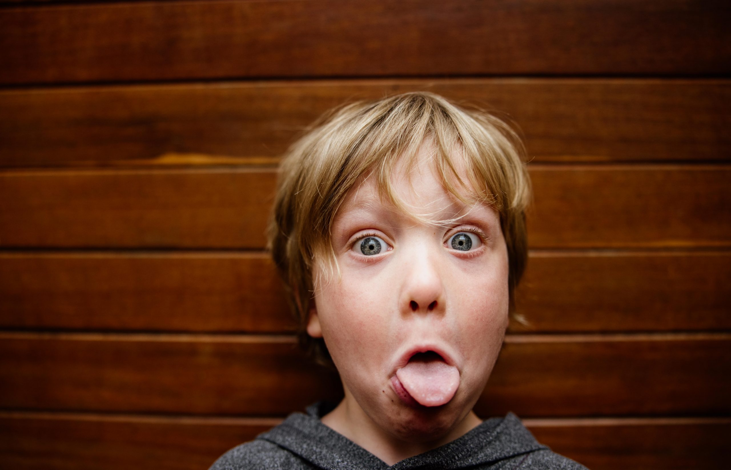 kid making funny face