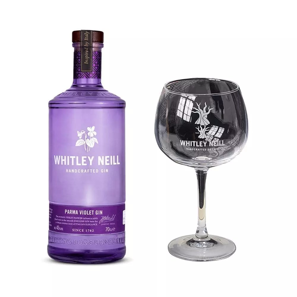 Whitley Neill Parma Violet Gin  Branded Glassware  Click