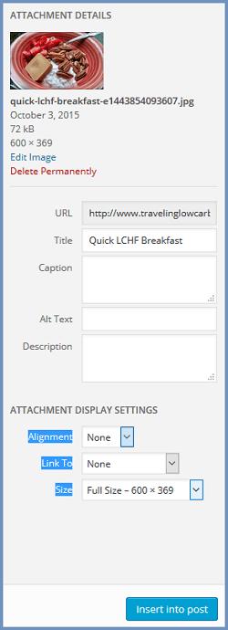 Wordpress Image Display Settings