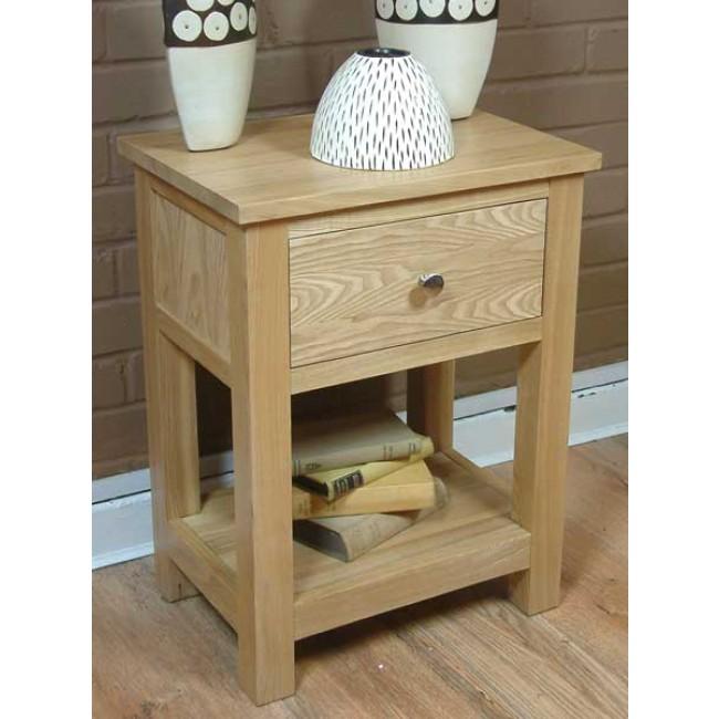Mobel Oak One Drawer Single Shelf Lamp Table Click Oak