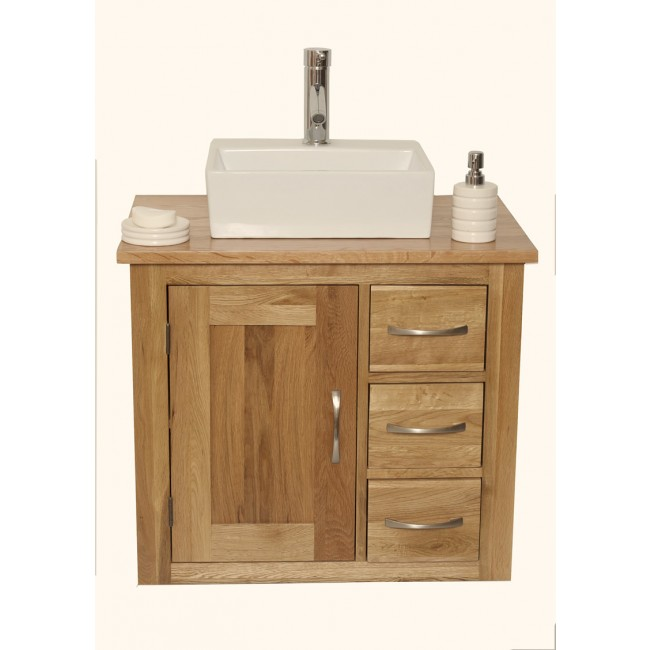 Wall Mounted Bathroom Vanity Unit Solid Oak  Click Oak
