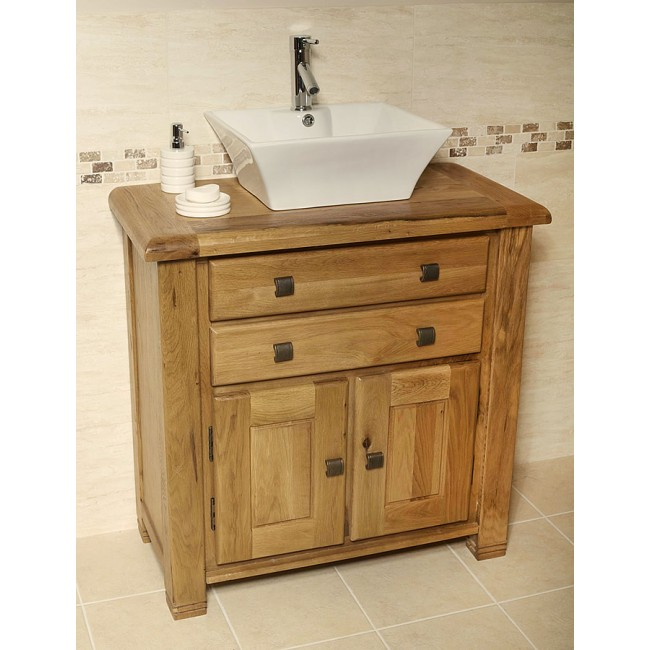 Ohio Rustic Oak Bathroom Cabinet Vanity Unit  Click Oak