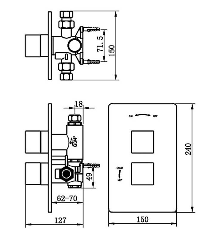 Tre Mercati Square Thermostatic Valve With 2 Way Diverter