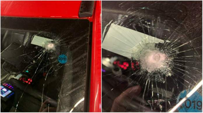 The windshield of an EMS vehicle that was struck by a bullet Dec. 31, 2019.