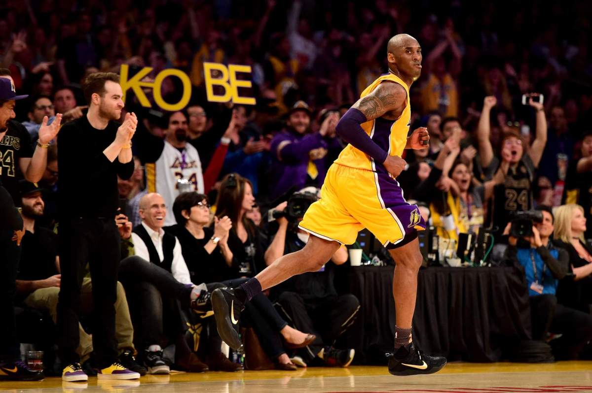 Kobe Bryant reacts in the third quarter against the Utah Jazz at a game held April 13, 2016, in Los Angeles.