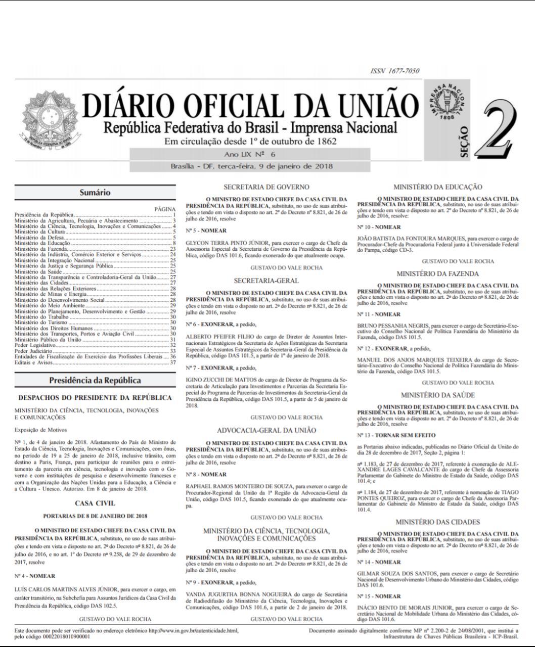 sou - Nomeação de paraibano para secretaria de Ministério é publicada no Diário Oficial da União