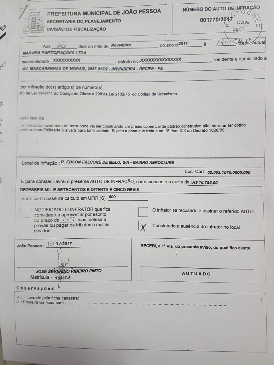 f4ef1a65 5c96 4947 aa89 42aa0c6f03eb - Prefeitura da Capital embarga construção ilegal na estrada de Cabedelo