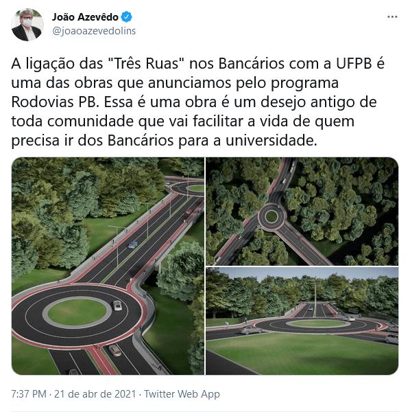 screenshot 2021 04 22 joao azevedo no twitter - João Azevêdo divulga imagens da via que deve ligar as Três Ruas à UFPB, em João Pessoa: ''desejo antigo''