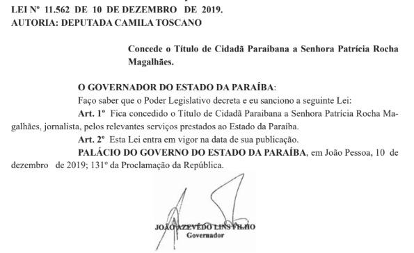 whatsapp image 2019 12 11 at 092910 - João Azevêdo sanciona Título de Cidadã Paraibana para Patrícia Rocha