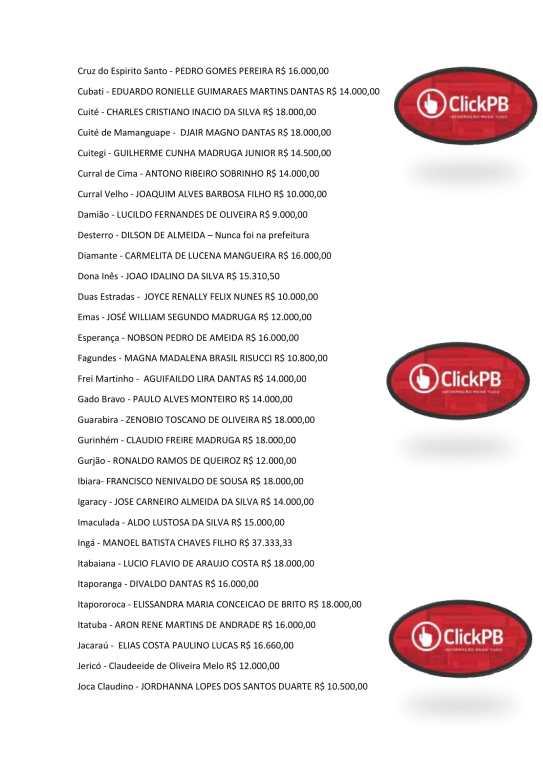 salario dos prefeitos pdf 3 - Prefeito de Serra Branca tem salário mais alto do Cariri; veja lista