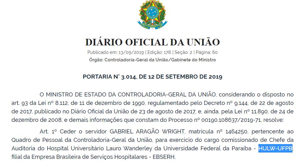 hu - Severino Queiroz assume Controladoria Geral da União na Paraíba
