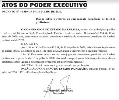screenshot 3 - DIÁRIO OFICIAL: Governador autoriza retorno do Campeonato Paraibano de Futebol