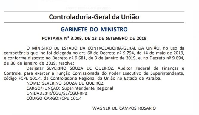 cgu - Severino Queiroz assume Controladoria Geral da União na Paraíba