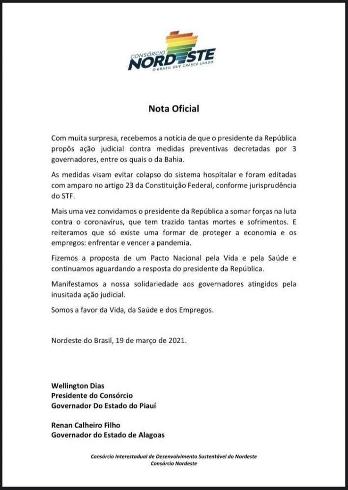 nordeste João Azevêdo e governadores do Nordeste reagem contra ação de Bolsonaro no STF para evitar medidas restritivas mais duras contra covid-19