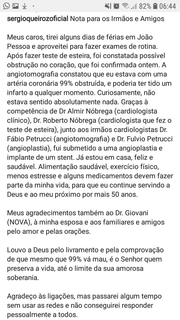 screenshot 20190812 064422 instagram - RISCO DE INFARTO: secretário do governo Bolsonaro, Sérgio Queiroz passa por angioplastia