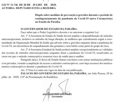 gravidez - Governo da Paraíba sanciona lei que amplia medidas de prevenção à gravidez durante pandemia do Coronavírus