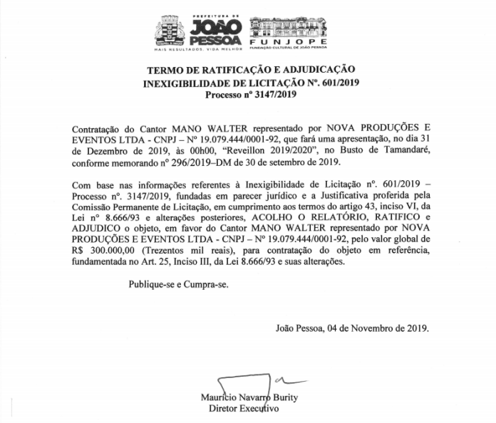 contrato mano walter - Quase meio milhão de reais: gasto da prefeitura de João Pessoa com atrações de fim de ano impressiona
