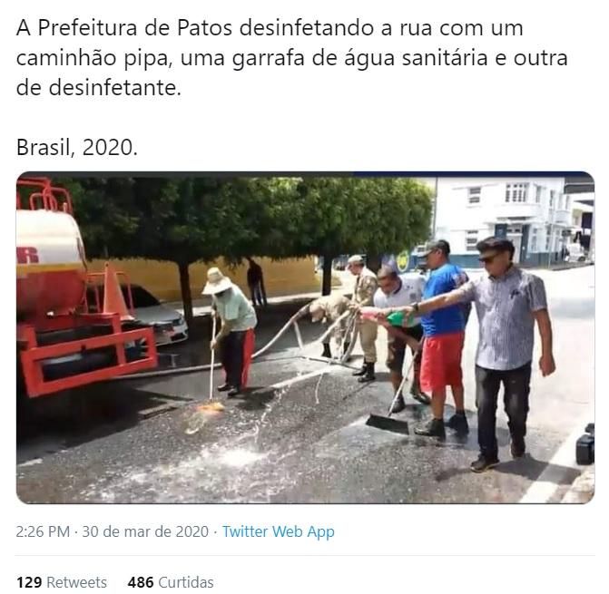 higienizacao das ruas de patos contra o coronavirus vira piada nas redes sociais - Higienização das ruas de Patos contra o coronavírus vira piada nas redes sociais, e Nilvan Ferreira também faz 'chacota' com o prefeito - VEJA VÍDEO