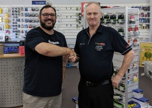 Dante St James meeting the staff at Leading Edge Computers, Tennant Creek