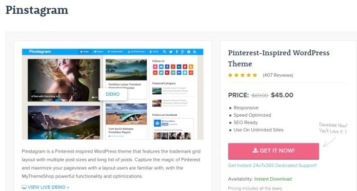Pinstagram Pinterest Inspired WordPress Theme