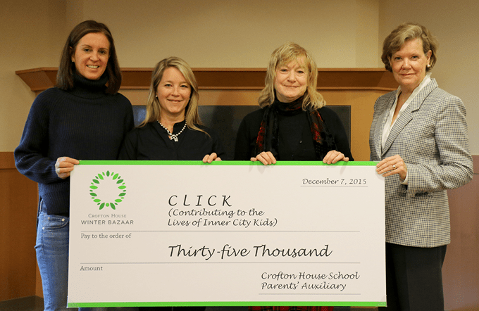 Crofton House School presented CLICK's (Contributing to Lives of Inner City Kids) with a $35,000 cheque; proceeds raised at the CHS Winter Bazaar.  From left:  Georgina Macdonald, Chair, CHS Parents' Auxiliary and Tina Barkley, Chair, CHS Winter Bazaar, with Catherine Atyeo, President of CLICK and Dr. Pat Dawson, Head of School, CHS.