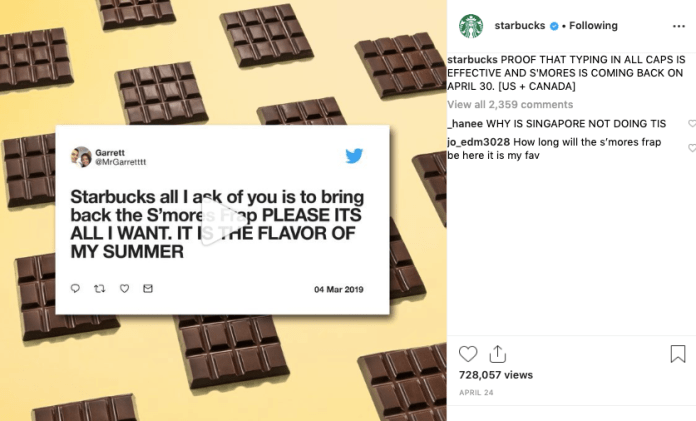 Example of Starbucks' Instagram posts that include user-generated content