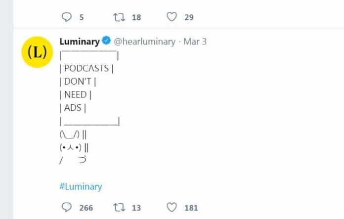 luminary tweet podcasts don't need ads