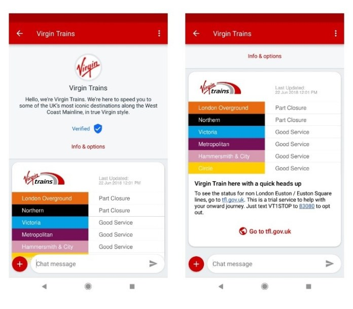example of how Virgin Trains used RCS messaging to communicate with its travelers and get travel data
