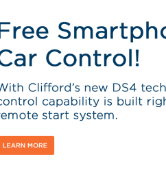 free smartphone car control with clifford s new ds4 technology  [ 1482 x 554 Pixel ]
