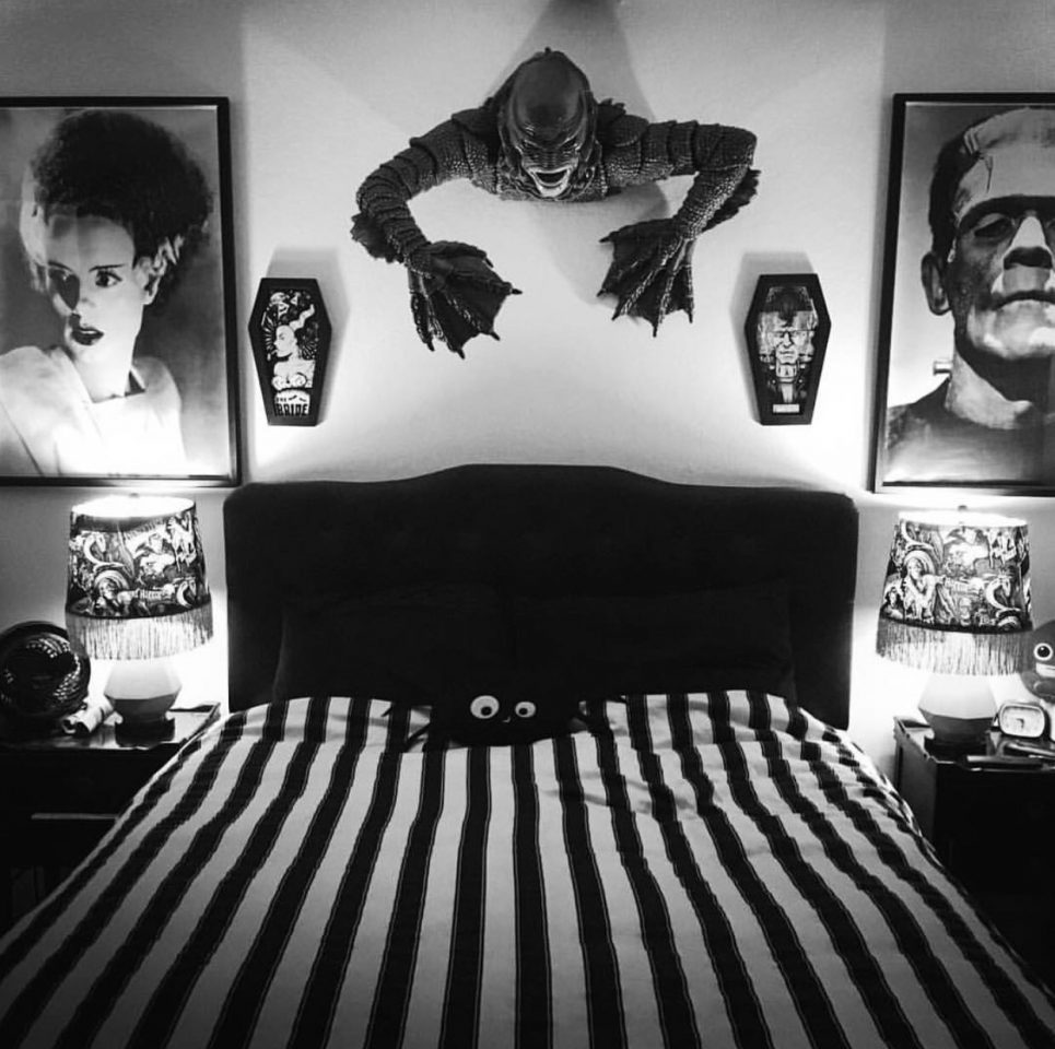 black and white gothic room aesthetic