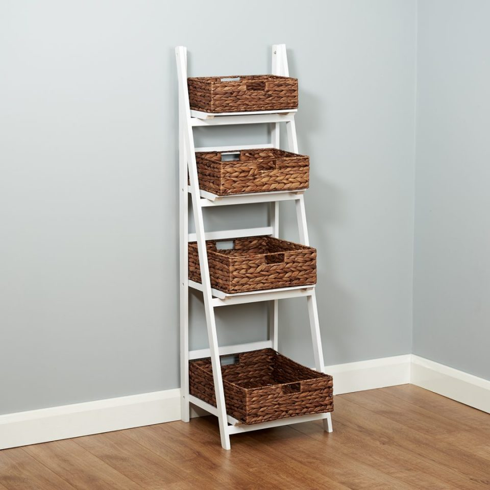 Brown Ladder Shelf With Natural