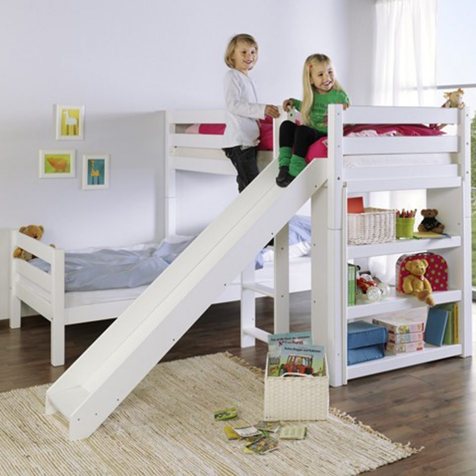 bunk bed with slide in white