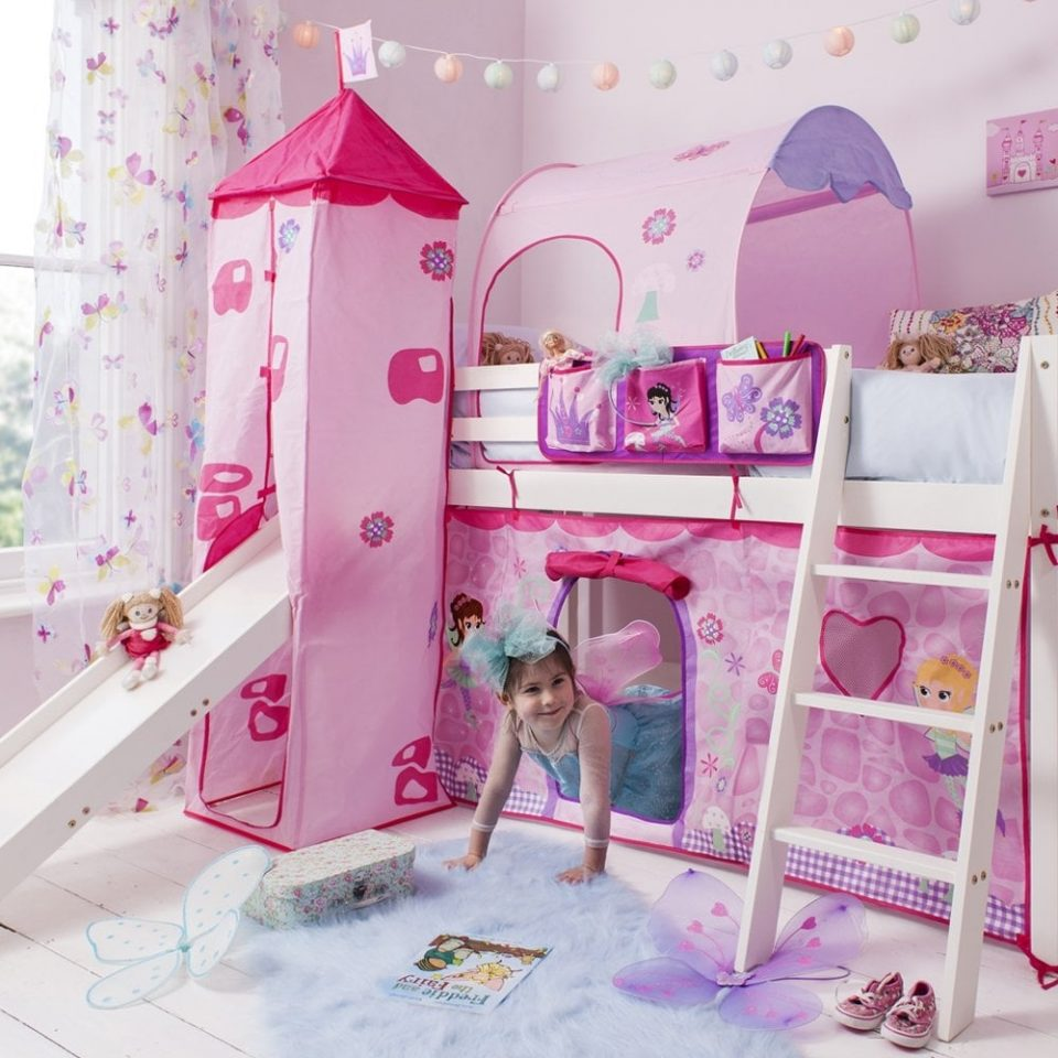 cabin bed with slide tent tower tunnel