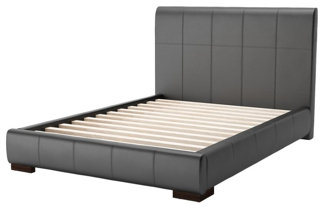 contemporary full size platform bed frame black faux leather