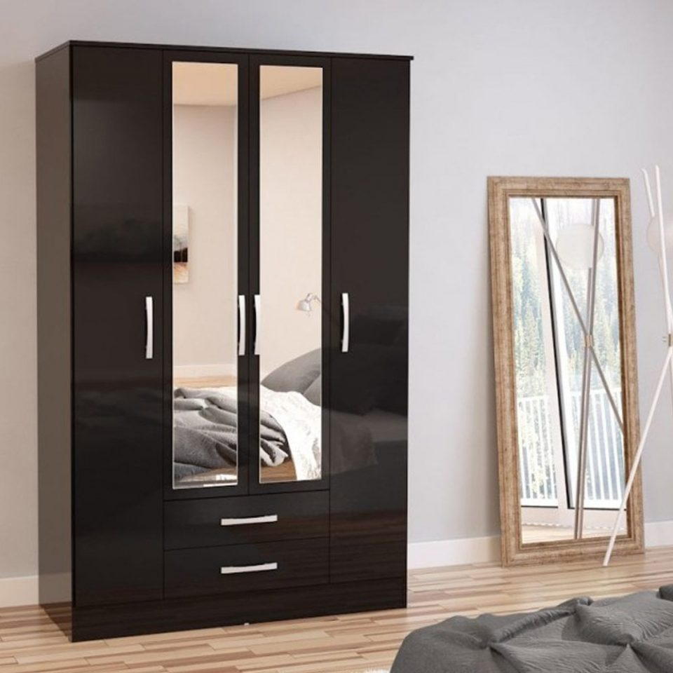 drawer black wardrobe with mirror