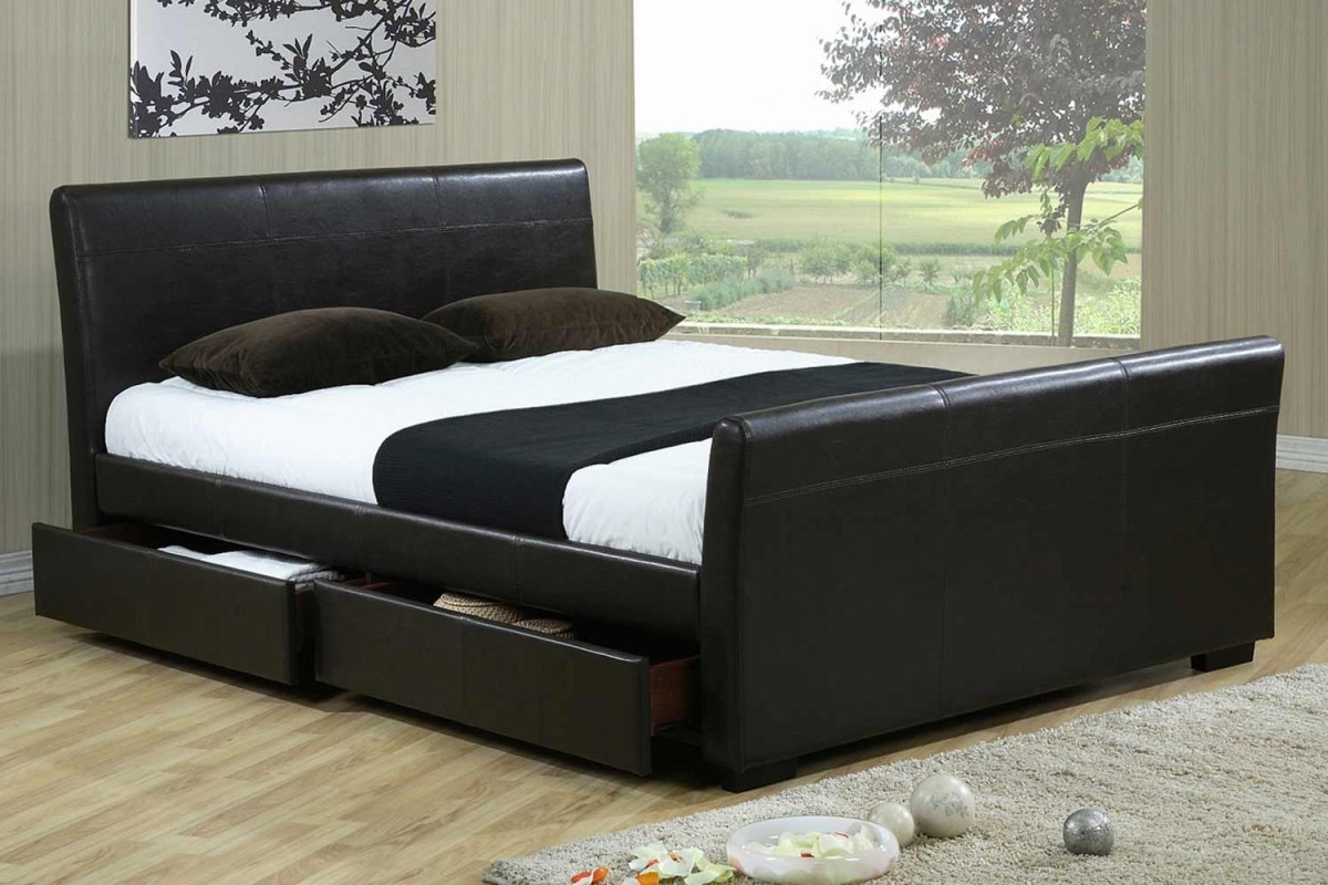 drawer faux leather bed frame bedworld