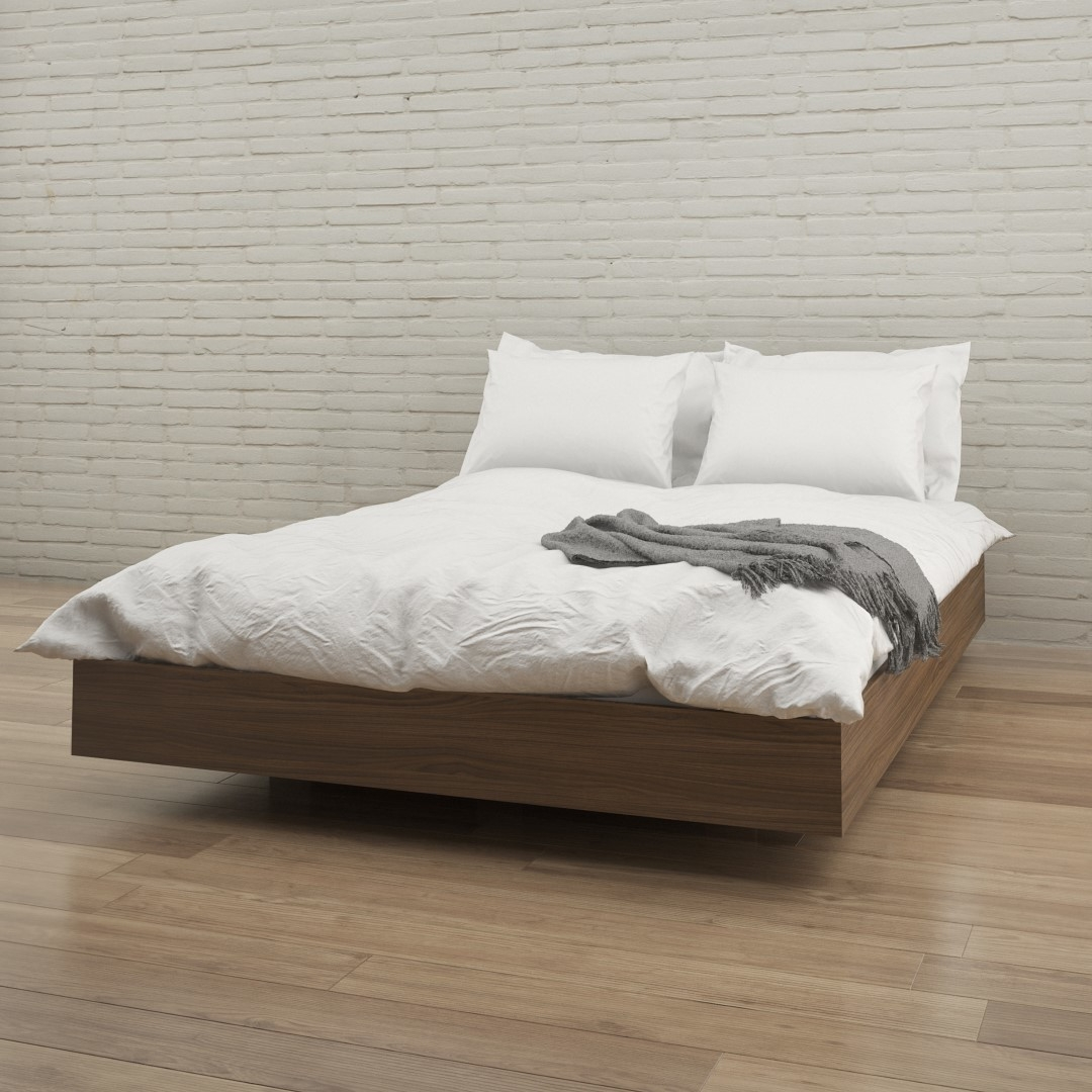 floating leather platform bed without headboard
