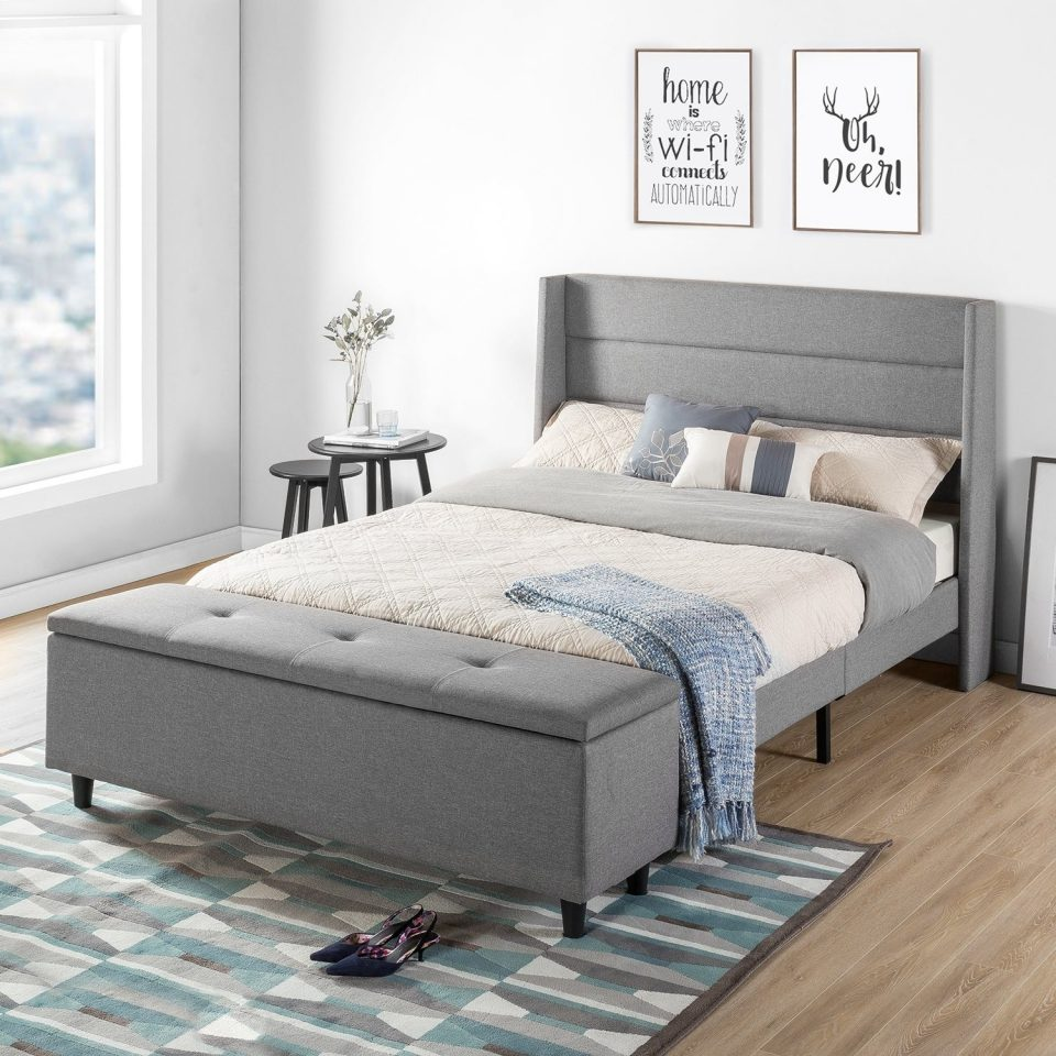 full size upholstered platform bed with headboard