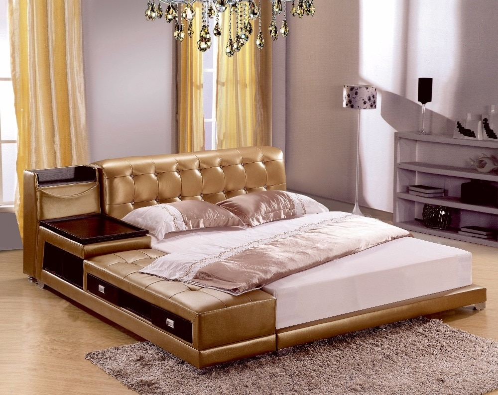 genuine leather bed soft king size with storage