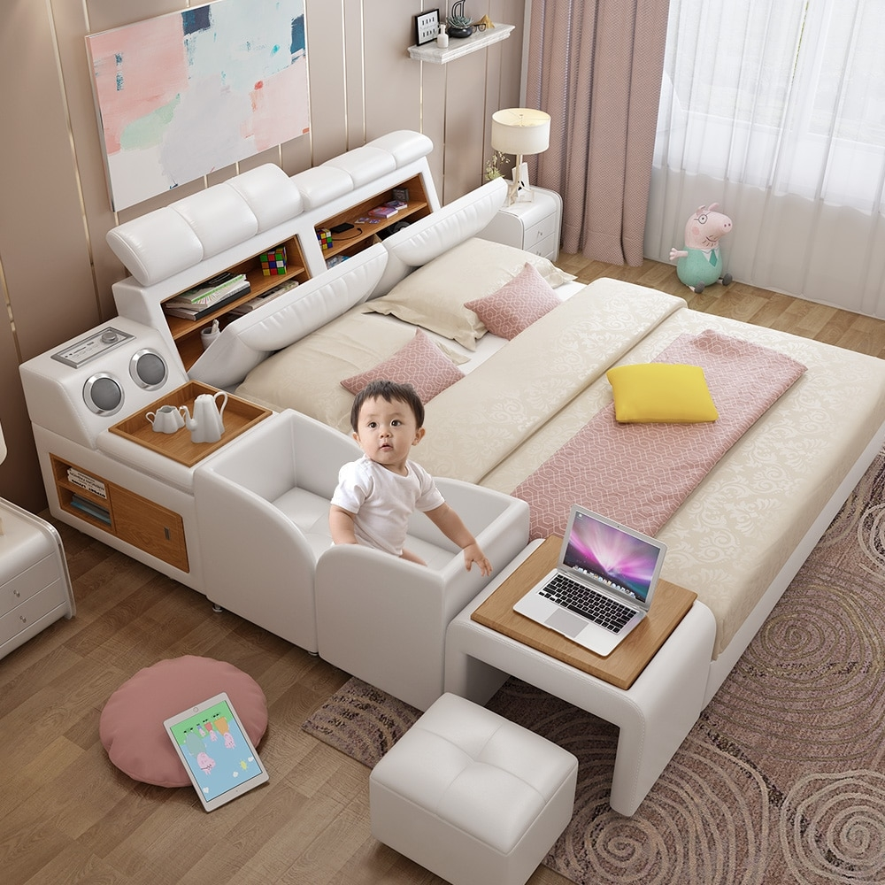 king size leather beds with ba crib storage