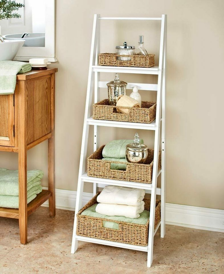 Ladder Baskets Storage Cabinet