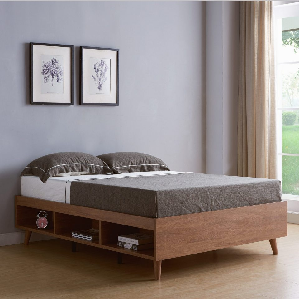 modern storage queen size platform bed