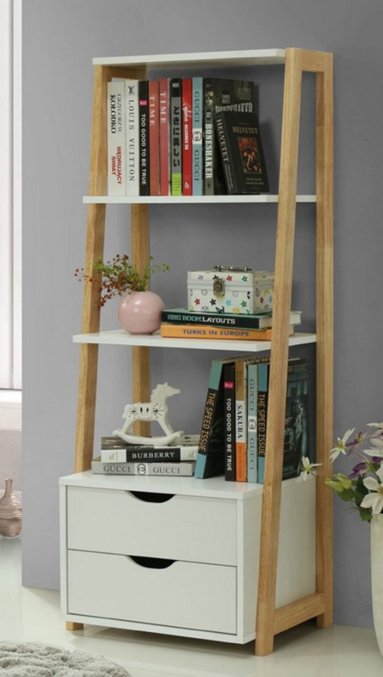 Narrow Ladder Shelf With Drawer